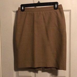 J Crew No 2 Pencil Skirt Super 120s Wool- Camel 0P